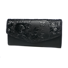 High Quality Floral Wallet Women Long Design Lady Hasp Clutch Wallet Genuine Lea
