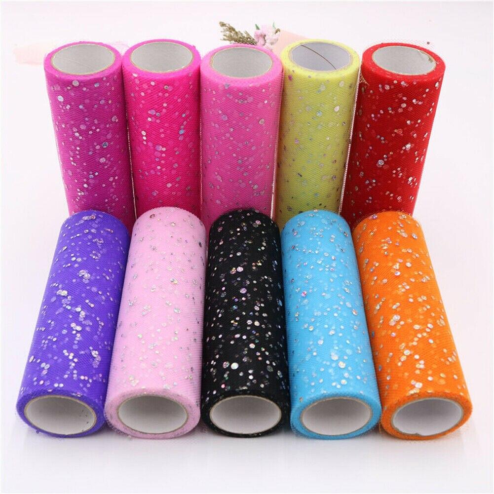 Home 15cm 10Yard Glitter Tulle Roll Crystal Organza Sheer Gauze Table Runner NEW Table Runner