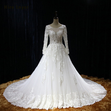 HIRE LNYER Long Sleeve Open Back A-line Wedding Dresses