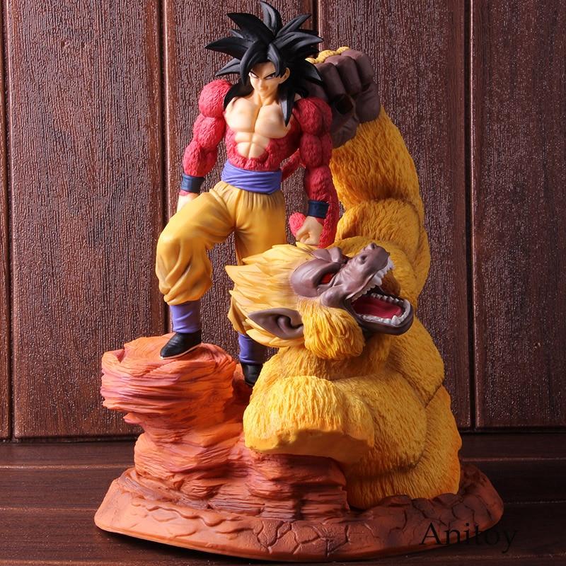 DBZ Dragon Ball Z Super Saiyan 4 fils Gokou or grands singes scène Statue DBZ PVC Goku SSJ4 figurine Action à collectionner modèle jouet