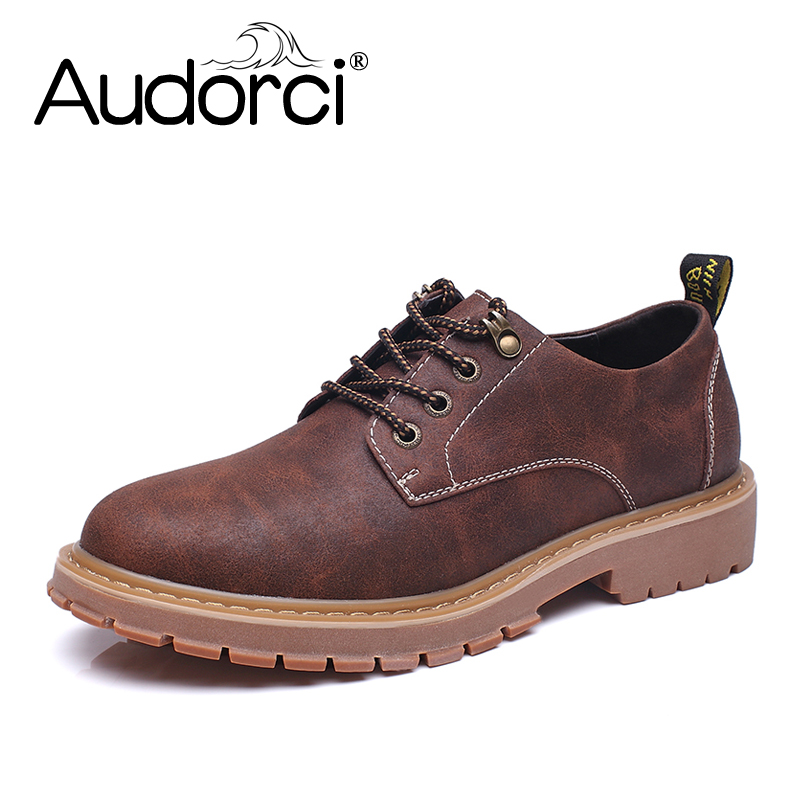 Audorci 2018 Man Casual Shoes Men Waterproof Solid Lace-up Man Fashion Shoes With Pu Leather Shoe Size 38-44 hot sale casual shoes men spring autumn waterproof solid lace up man fashion flat with pu leather outdoors shoe