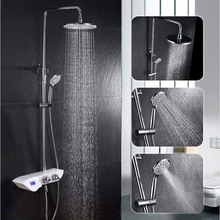 Bath Thermostatic Faucet Rainfall Shower Set With Massage Handled Shower  Water Power Digital Display Mixer Valve Slide Showers