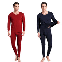 Men's Thermo Long Underwear Sets Male Solid Cotton Warm Long Johns Winter Thermal Top+Long Johns Suit