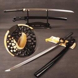 Pieno Tang Katana Giapponese Samurai Spada T8 Argilla Temperato Lama con Lungo Hi Sharp Può Tagliare Carta In Metallo Decorazione Della Casa regali