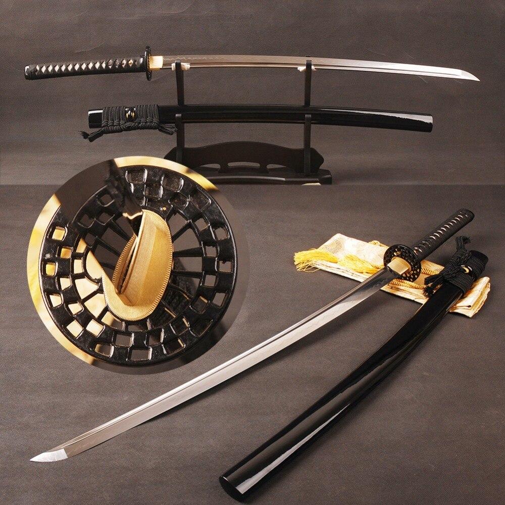 Pleine Saveur Katana Japonais Samurai Épée T8 Argile Trempé Lame avec Long Salut Forte Peut Tranche Papier En Métal Décoration de La Maison présente