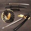 Volledige Tang Katana Japanse Samurai Zwaard T8 Klei Gehard Blade met Lange Hi Sharp Kan Slice Papier Metalen Woondecoratie presenteert