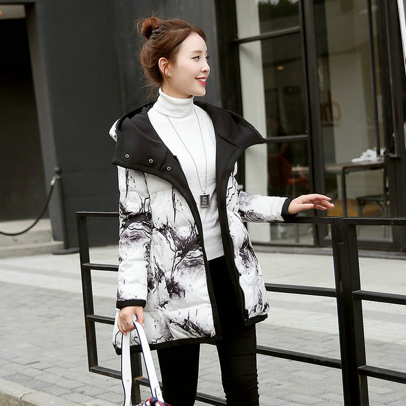 Classic wild autumn and winter new female models jacket cotton students Slim cotton coat in the long section lucky panda 2016 the new winter coat and female slim in the long and small lattice fragrant cotton lkp243