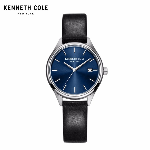 Kenneth Cole Couple Watches For Men Women Quartz Black Leather Buckle Waterproof Calendar Lovers Genuine Watch KC10030839/36