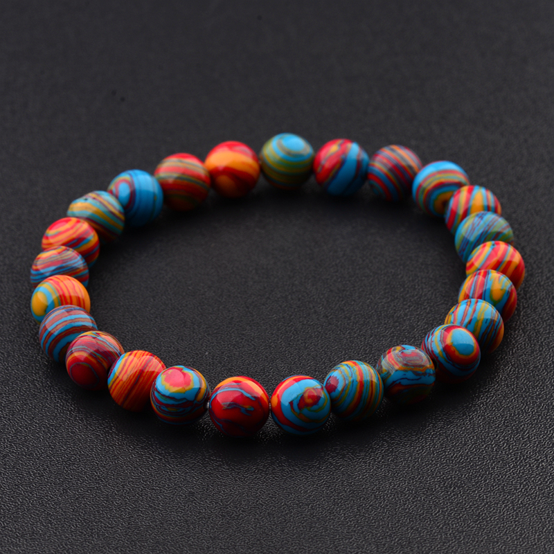 2020 Colorful Chakra Stone Beaded Women Bracelet 8mm Charm Men Ethnic Stretch Bracelets Fashion Jewelry AB176