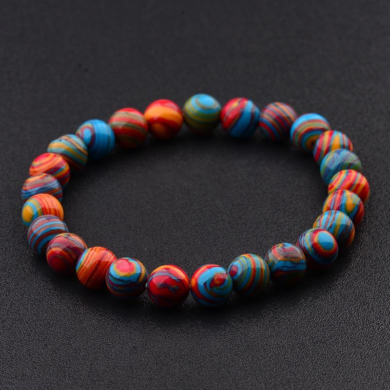 2020 Colorful Chakra Stone Beaded Women Bracelet 8mm Charm Men Ethnic Stretch Bracelets Fashion Jewelry AB176
