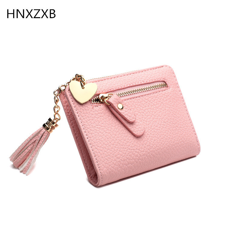 Women Small Wallets Tassel Pendant Short Money Wallets PU Leather Lady Zipper Coin Pocket Purses Female Fashion Cardbag 8 Colors