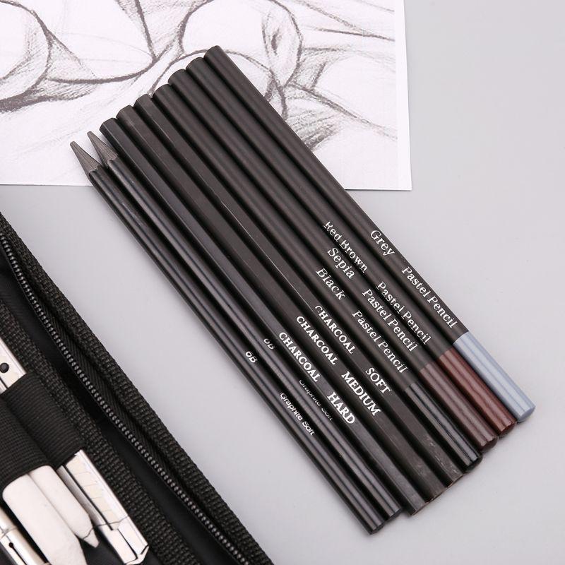 48Pcs/Set Professional Sketching Drawing Pencils Eraser Sharpener Pastel  Kit Painting Tool Art Supplies With Carry Bag