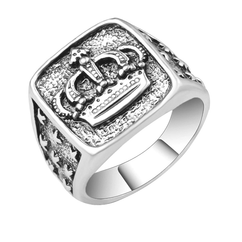 Punk New Arrival Silver Color Crown Signet Ring Men Carved Star Vintage Ring Male Jewelry Cool Unique Gift Drop Shipping