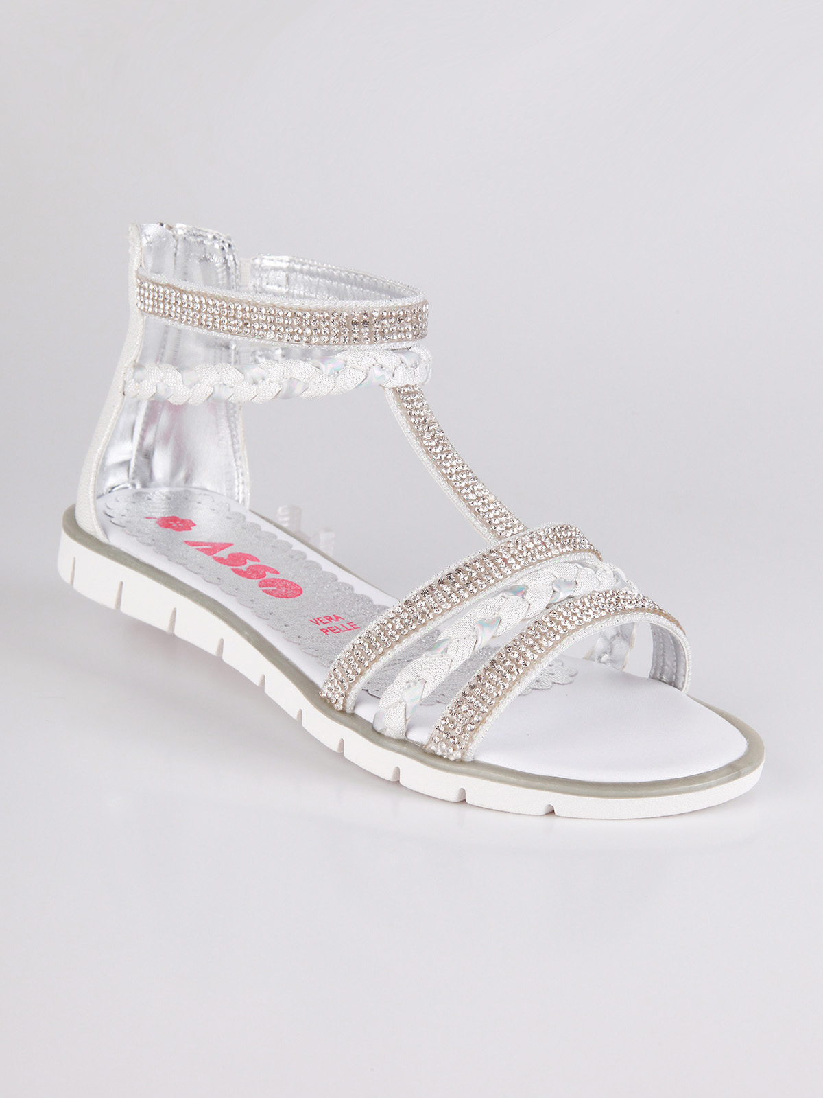 ACE White Sandals With Rhinestone
