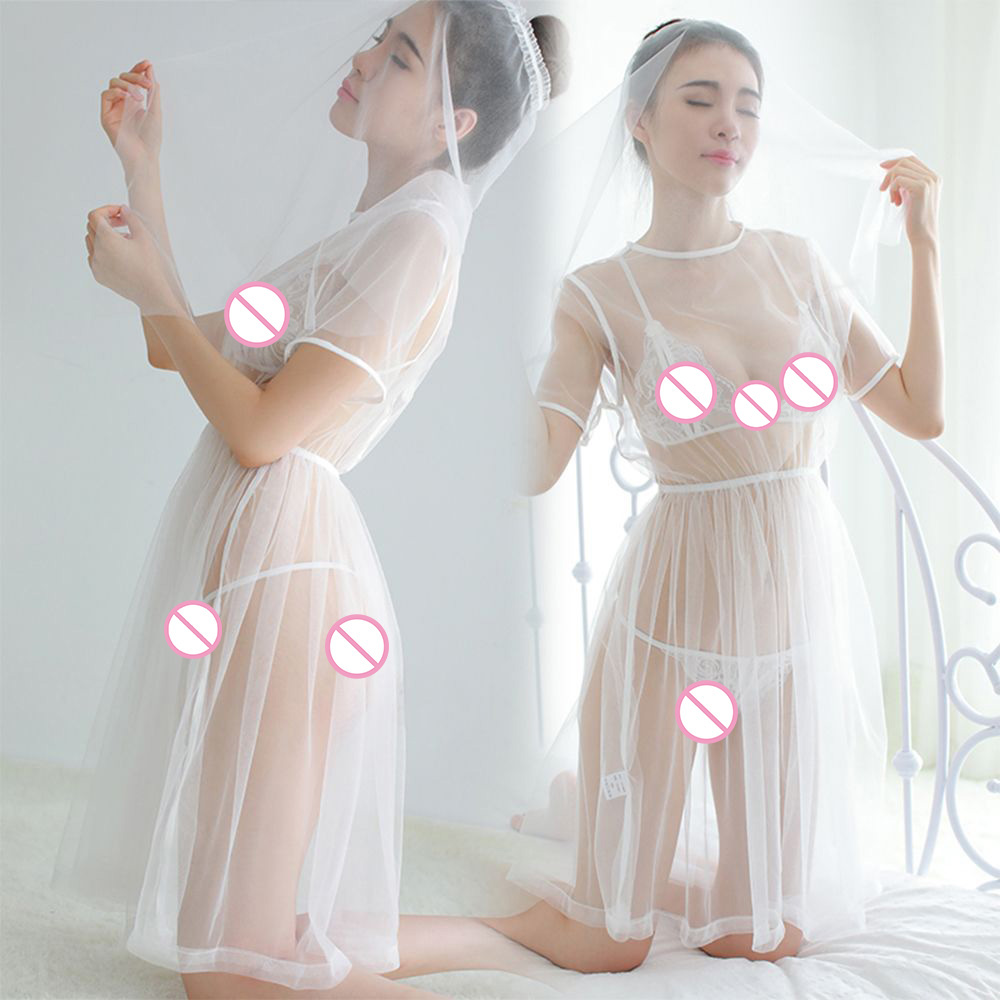<font><b>Sexy</b></font> Exotic <font><b>Babydoll</b></font> Underwear Cosplay <font><b>White</b></font> Bride Wedding <font><b>Dress</b></font> Uniform Perspective Lace Gauze Outfit <font><b>Sexy</b></font> <font><b>Lingerie</b></font> Set image