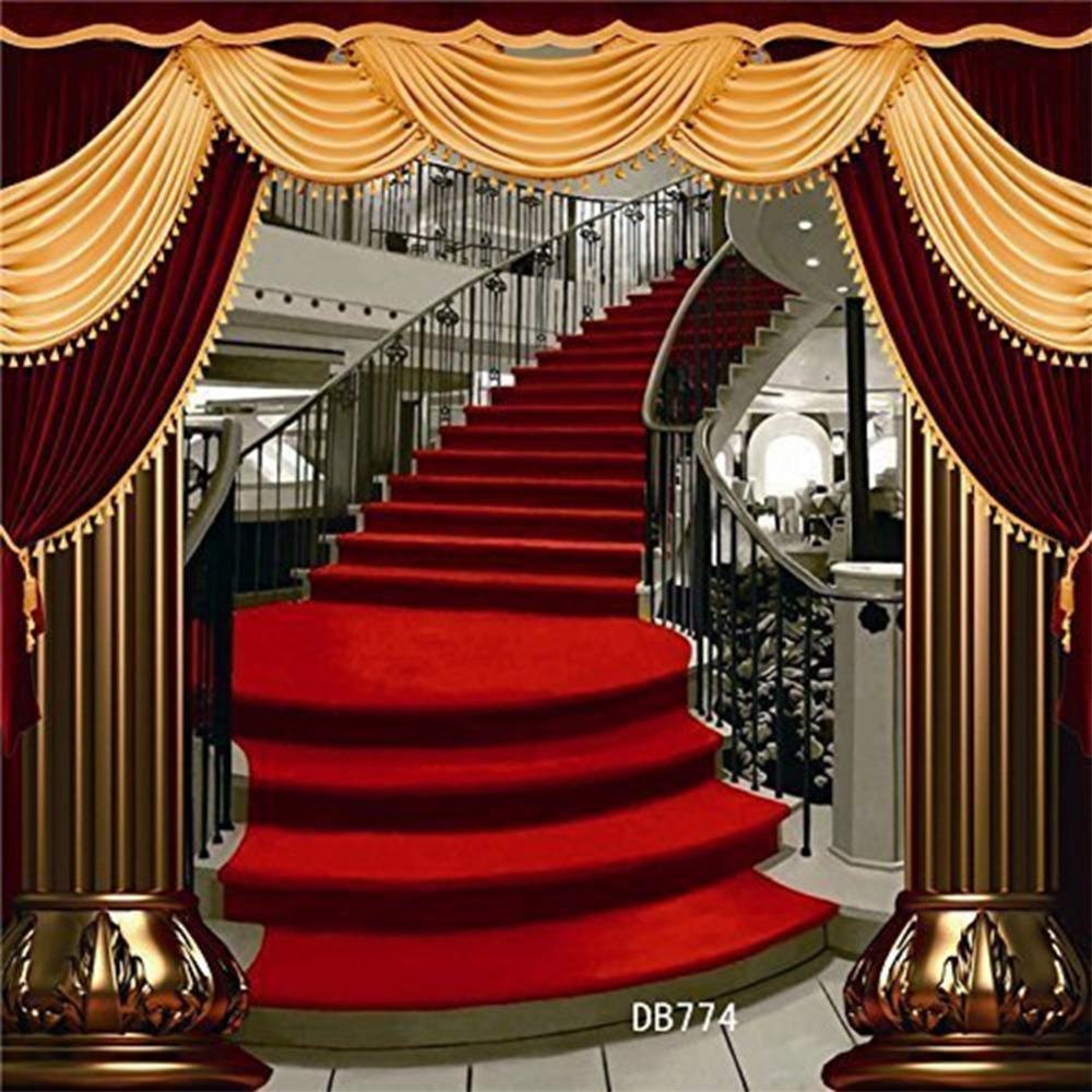 Red Carpet Stair Backdrop Polyester Wedding Theme Photography Background Studio Props Background Seamless Washable No Crease