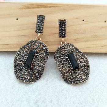 1/5 Pairs Fashion oval earrings Paved Rhinestone Crystal Charms Dangle earrings Jewelry for women ER508 image