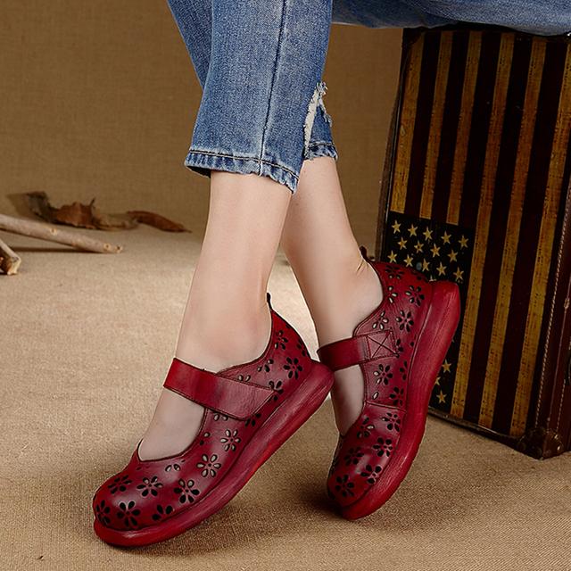 2017 Verão Projeto Original de Couro Genuíno Das Mulheres Sapatos Flats Plataforma Cortar Flor Dedos Dos Pés Redondos Do Couro Mulheres Sapatos Casuais