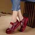 2017 Verano Diseño Original del Cuero Genuino de Las Mujeres Zapatos de Los Planos de la Plataforma de Flores Cortadas Toes Ronda Zapatos de piel de Vaca Ocasional de Las Mujeres
