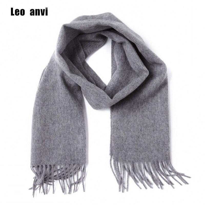 Leo anvi 100% lana de Cachemira bufanda de invierno para hombres mujeres  moda Echarpe alta calidad sólido bufandas otoño Bandana e4121521a08
