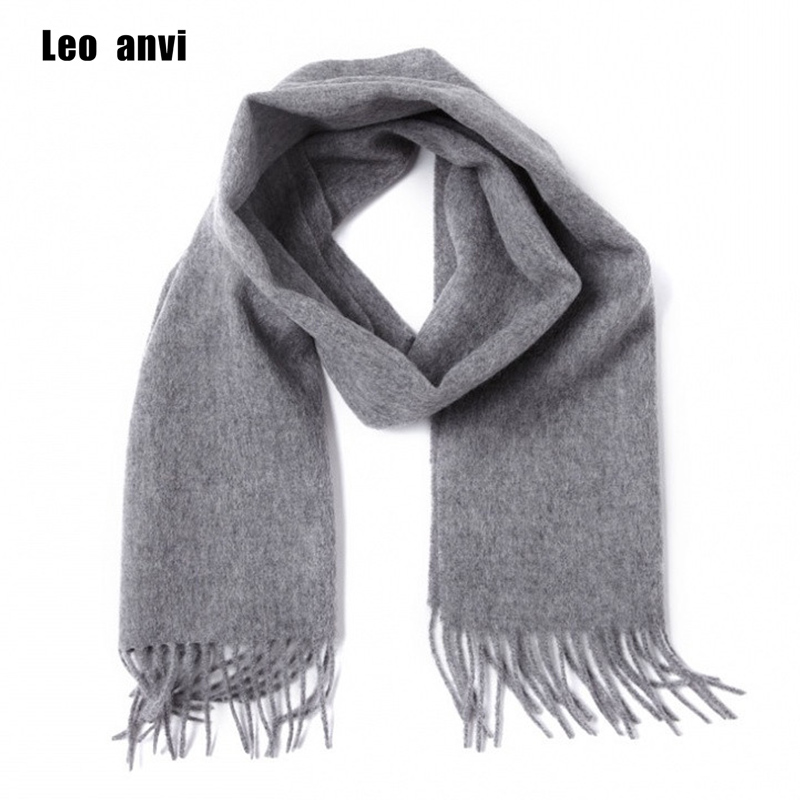 Leo Anvi 100% Wool Cashmere Winter Scarf For Men Women Fashion Shawls Echarpe Male High Quality Solid Scarves Autumn Bandana
