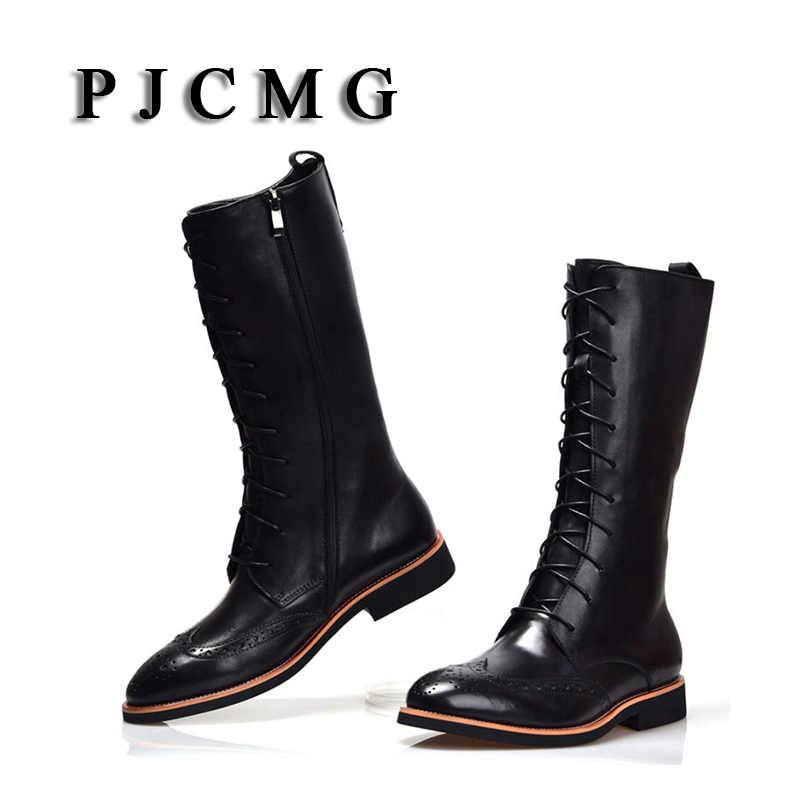 PJCMG New Zipper Genuine Leather Hasp Comfortable Brand Waterproof Men Outdoor Motorcycle Martin Boots Formal Shoes