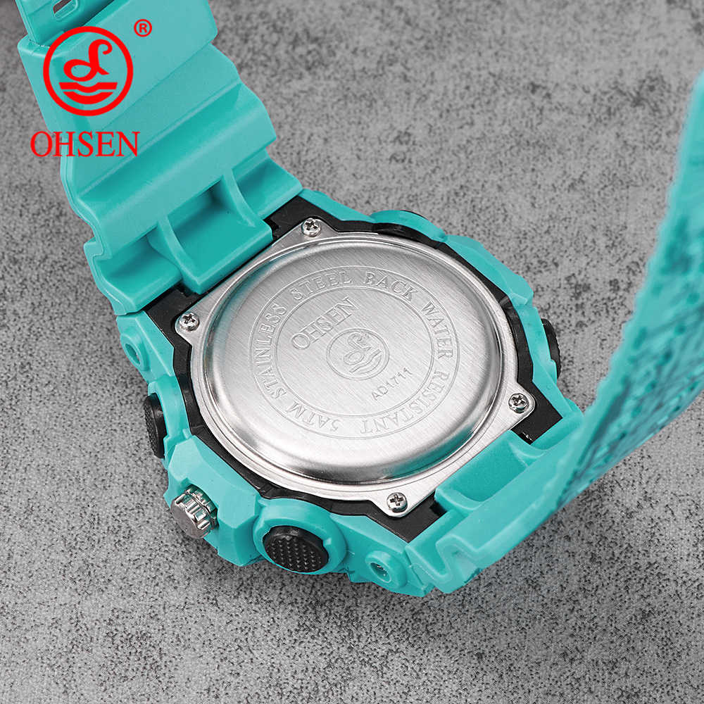 OHSEN Shock Style Fashion Colorful Men Women Sport Outdoor Digital Analog Alarm 50 Waterproof Military G Watches Relojes Hombre