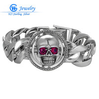22CM Statement Bracelets With 34 2 54 7 15 9mm Skull 925 Sterling Silver Charms Bangles