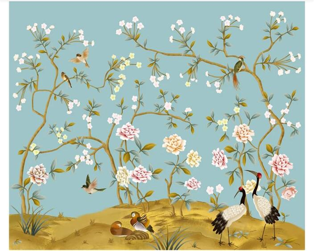 beibehang Chinese hand painted flower bird crane and peony background wall murals papel de parede papier peint wallpaper in Wallpapers from Home Improvement