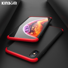 KINBOM 360 phone case for iPhone 7 8 X XR XS Max 3 in 1 cover for iPhone 6 6S 8 Plus Se 5S full PC hard case цена и фото