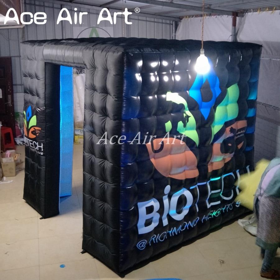 Nouvelle tente gonflable de cube de cabine de photo de LED noire de mode avec un grand logo gratuit pour la publicité