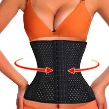 3Rows hooks women slimming Cheap body shaper Bustier belt fashion 4 steel boned waist corsets black