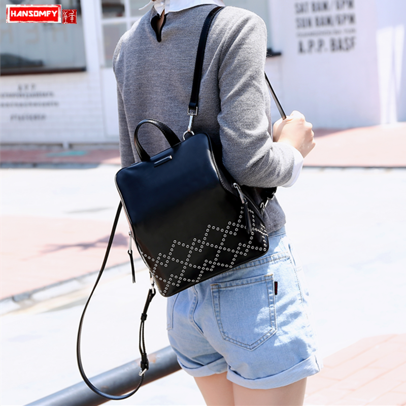 2018 new Women shoulder bag female genuine leather fashion shell rivet small backpack college wind burglar school Bags2018 new Women shoulder bag female genuine leather fashion shell rivet small backpack college wind burglar school Bags