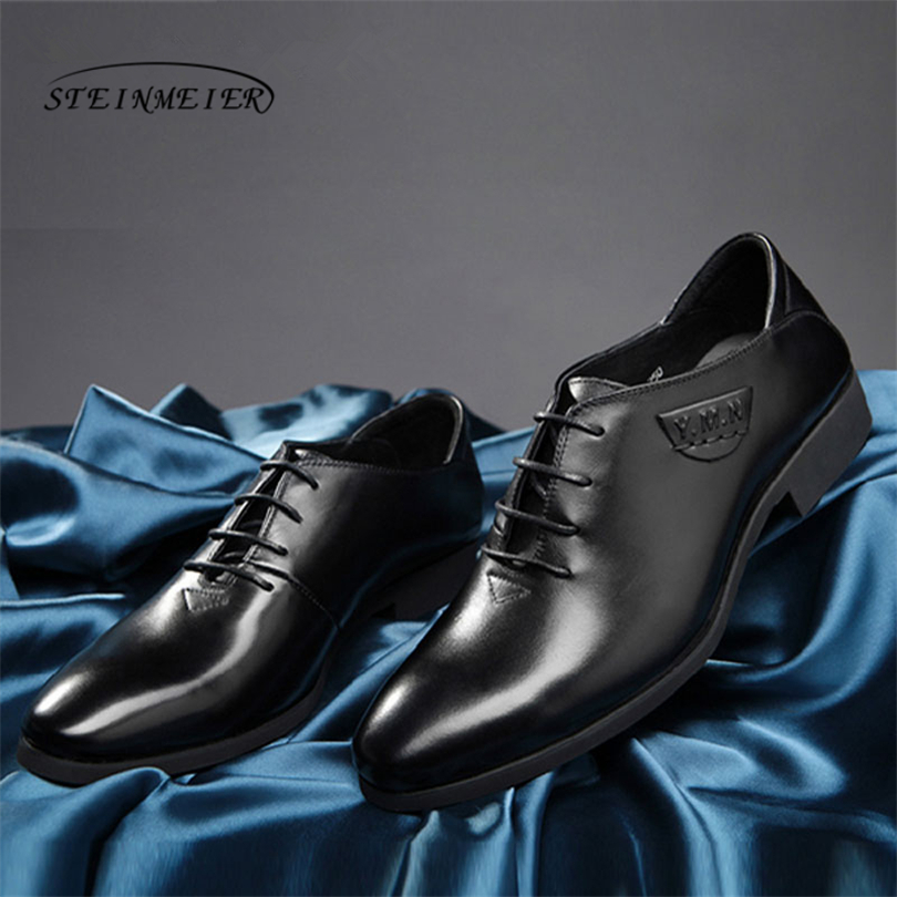 2018 men Luxury Genuine Leather Lace Up Modern Men Brogue Shoes Party Wedding Suit Formal Footwear Male Dress Shoes