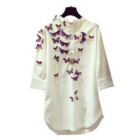 3D Blusas Butterfly Embroidery Women White Shirt Spring Autumn Blusa Women Blouses Loose Shirt Long Tops