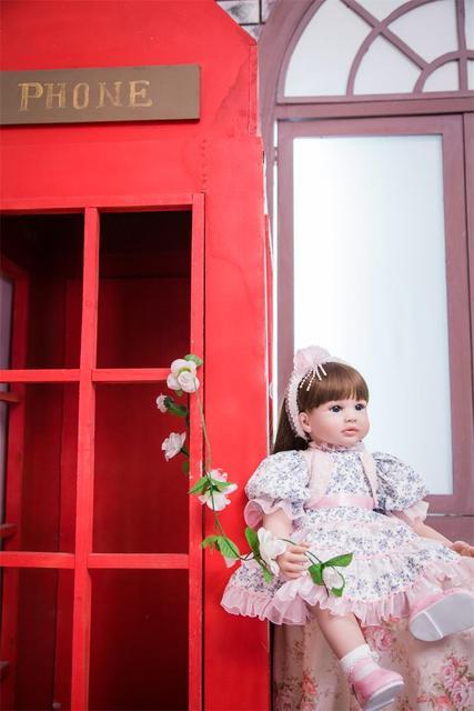 60cm Silicone Reborn Girl Baby Doll Toys 24inch Vinyl Princess Toddler Babies Dolls Fashion Birthday Gift
