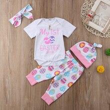 Newborn Baby Girls Easter Festivel Clothing Babies Girl Clothes Bodysuit Pants Hat Headband Set 2019