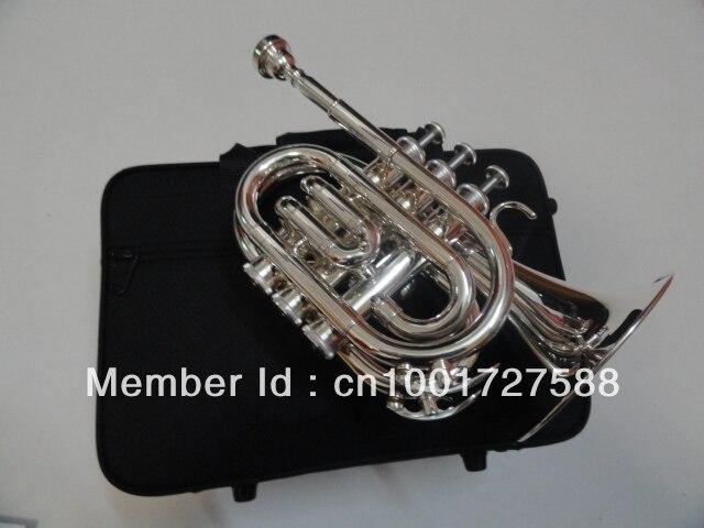 Classice Music Musical Instruments the Pocket Trumpet Descending Bb boquilla para trompeta Major Silver Plated v07bracelet replacement wrist strap blue