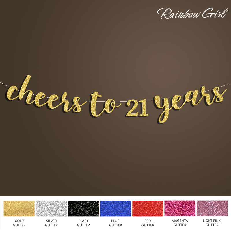 Cheers to 21 Years Banner,Happy Birthday Sign Backdrop,21st Birthday Decoration,Gold/Silver Glitter Party Decorations Supplies