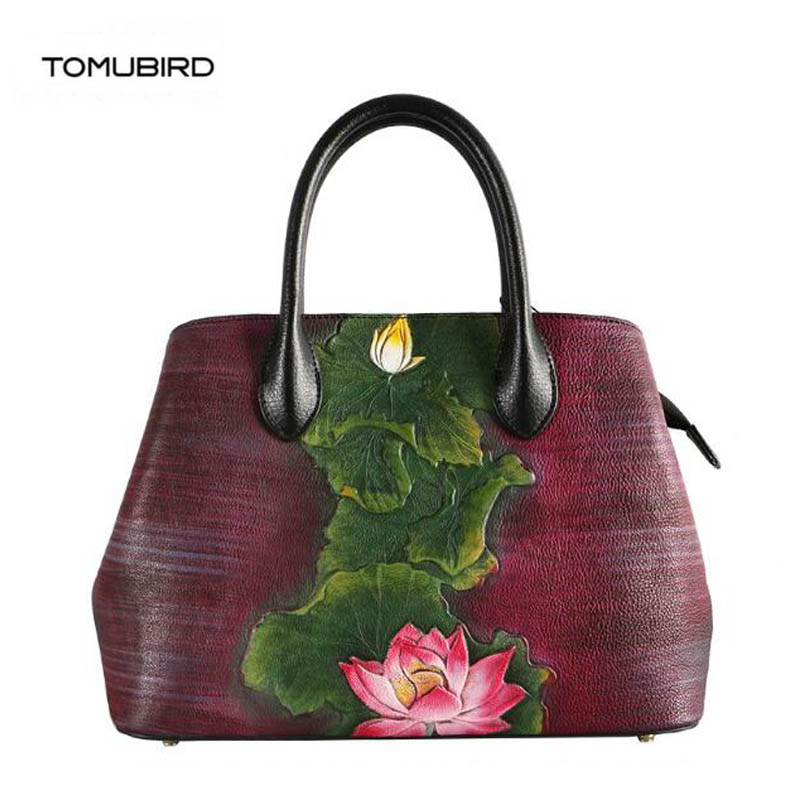 TOMUBIRD 2018 new women genuine leather bag handmade embossing Flower top schoudertas dames tote women leather shoulder bags ladylike women s tote bag with solid color and daisy embossing design