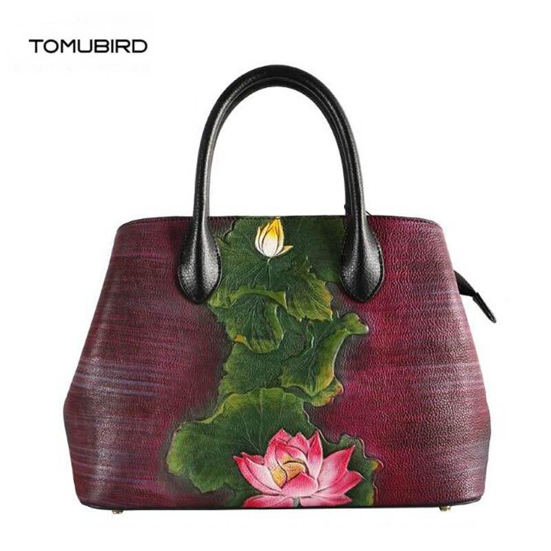 Tote Tomubird Blume Schulter Taschen Handgemachte Echtem Aus Frauen Leder Präge Schoudertas Tasche 2019 Neue Top Dames FrqFOH