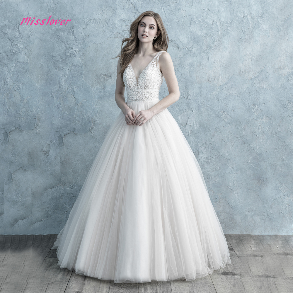 Robe de mariee Sexy V neck Backless Wedding Dress 2019 new A line Bridal Gown Luxury