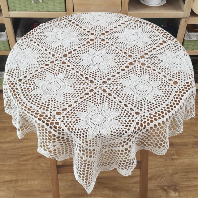Crochet Round Tablecloth Vintage Round Table Topper Handmade Crochet Lace  Round Tablecloth Placemat 90cm (35.5