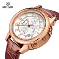 MEGIR Official Military Watch Quartz Analog Clock Genuine Leather Strap Clock Roman Dial Classic Watches Army Relogios Masculino