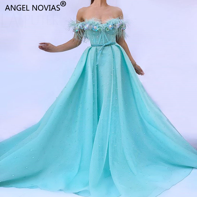 ANGEL NOVIAS Long Feather Robe   Evening     Dresses   2018 A Line Blue Abendkleider Saudi Arabic Prom Gown with Pearls