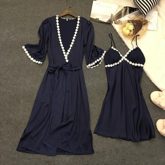 Lisacmvpnel 2 Pcs Sexy Spaghetti Strap Women With Cup Robe Sets Nightgown+Robe Women Pajamas Elegant Women Homewear