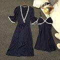 Lisacmvpnel 2 unids sexy correa de espagueti de las mujeres con la taza sets robe camisón + bata pijamas de las mujeres elegantes de las mujeres homewear