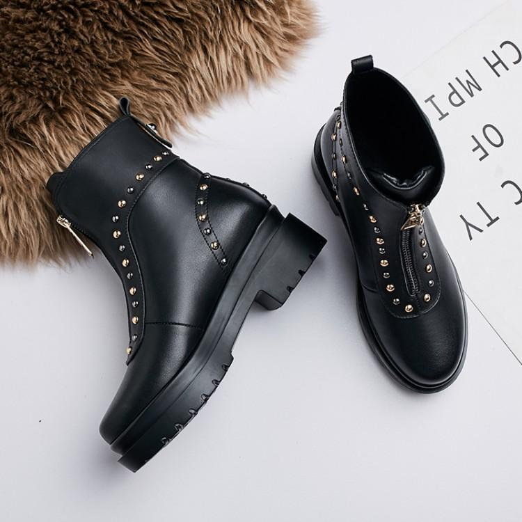 a89674dda103 Femme Noir Cuir Véritable Femmes Chaussures D hiver Zapatos De Rond Bout  Bottes Zipper Talon Chunky ...