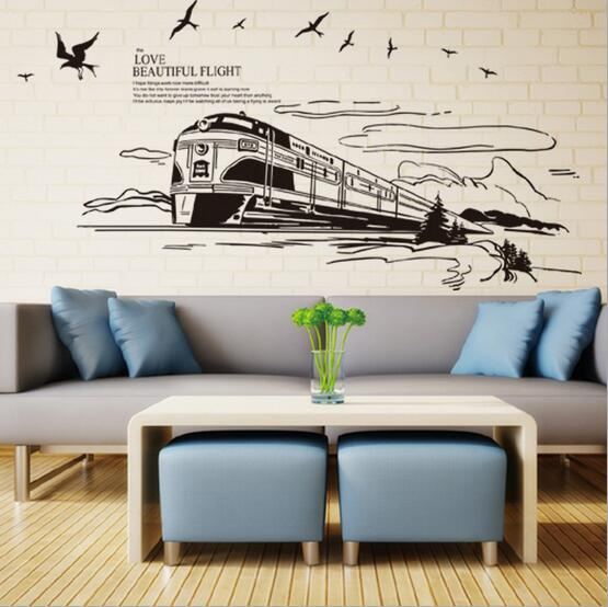 European style train vinyl wall stickers for for Teng yong interior design decoration