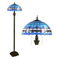16inch Tiffany blue Mediterranean Stained Glass floor lamp E27 110 240V for Home Parlor Dining bed Room standing lamp